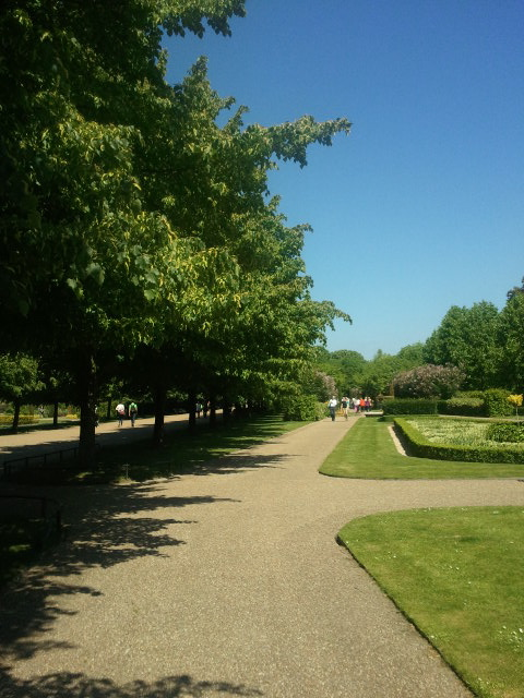 strolling through the gardens in Regent's Park