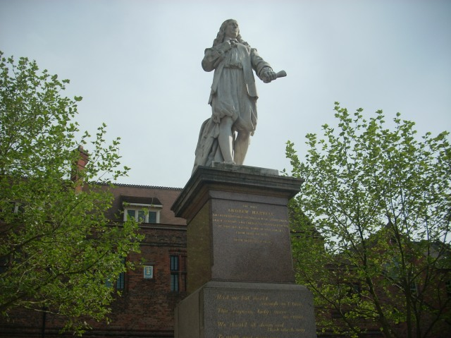 statue of metaphysical poet Andrew Marvell