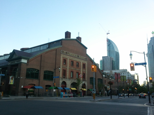 The historic St. Lawrence Market with the not-yet-finished L Tower in the background.